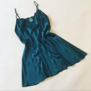 Victoria's Secret Emerald Green Silk Slip Dress XS